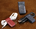 Leather MoneyClip & Cable Holder Blue