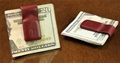 Leather MoneyClip & Cable Holder Red
