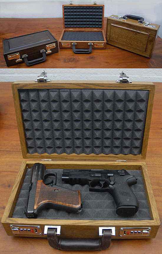Pistol  Case with solid Raised panel top